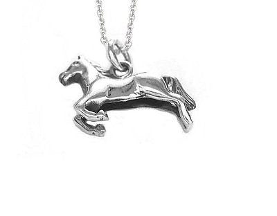 ".925 Sterling Silver Three Dimensional Running Horse Charm Necklace 18"" Inch 3D"