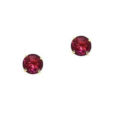 14K Real Gold Genuine Birthstone Gemstone Earrings Ruby 4mm