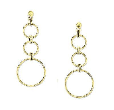 14K Yellow Gold 3 Circle Dangle Earrings 55mm