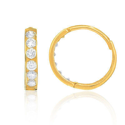 14K Real Gold Huggie CZ Huggy Hoops Earrings 1/2 inch  13mm