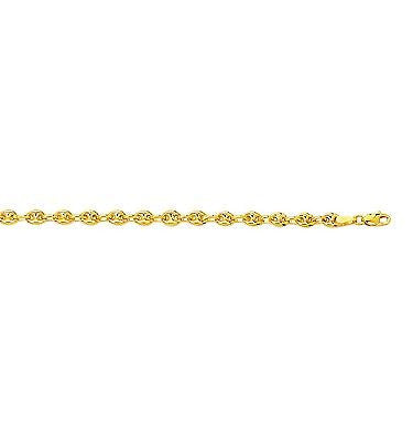 14K Solid Yellow Gold Puffed Mariner Chain Bracelet 7""