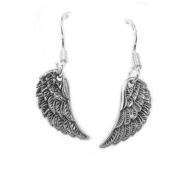 .925 Sterling Silver Angel Wing Dangle Dangle Kidney Wire Back Earrings
