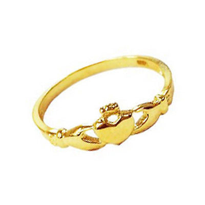 14k Solid Yellow Gold Cladaugh Baby Children Ring Claddagh