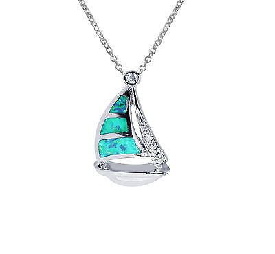 Sterling Silver Opal Sail Boat Sailboat Nautical Pendant Charm Necklace 18""