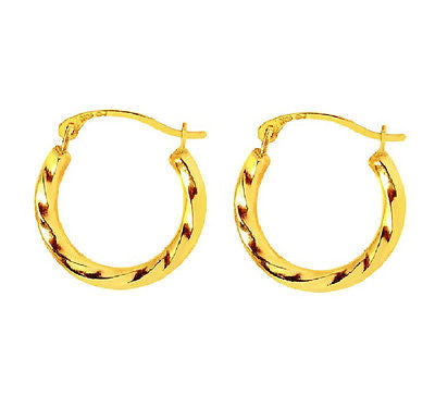 14k Yellow Gold Small Swirl Textured Round Small Hoop Earrings Snap Closure 16mm