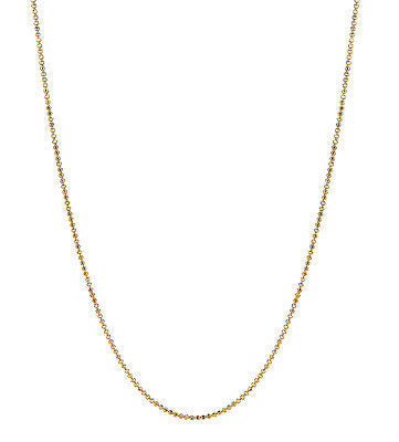 "14K Solid Yellow Gold Bead Chain 1.2mm Necklace 16"", 18"", 20"""