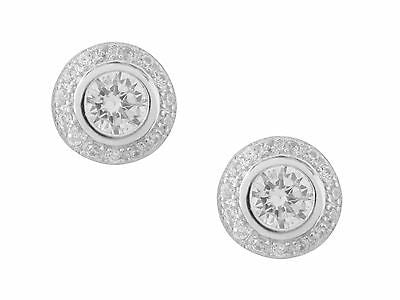 Sterling Silver Round Circular CZ Solitaire Bezel Set Halo Stud Earrings 9mm