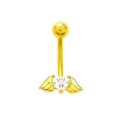 14k Real Gold Heart w Wings Belly Button Navel Ring