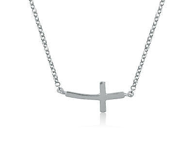 "Sterling Silver Baby Curved Sideways Cross Necklace 16""-18"""