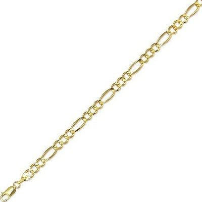 "10k Real Yellow Gold 5mm Figaro Link Chain Men's Bracelet 8"" inch"