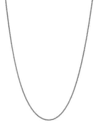 14K Solid White Gold Dia Cut Wheat Chain Necklace 1.1mm