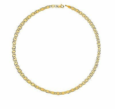 14K Solid Yellow Gold Mariner Link Chain Bracelet 7""