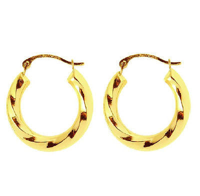 14k Yellow Gold Twist Swirl Small Small Hoop Earrings Snap Closure