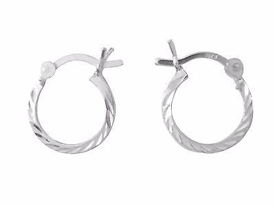 925 Sterling Silver Dia Cut Shiny Hoop Earrings Hoops 14x1.5mm