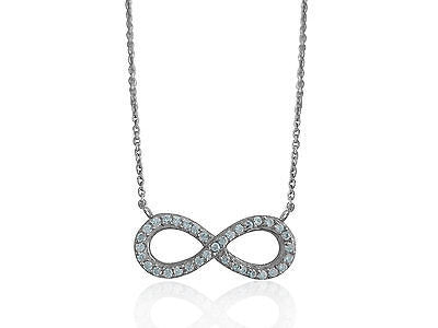 "Sterling Silver Cz Infinity Necklace 9x23mm 16""-18"""