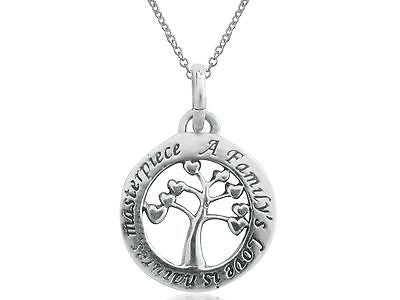 "Sterling Silver Tree of Life Round Circle Pendant Charm Necklace 18"" 14mm"