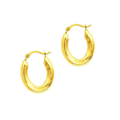 14k Yellow Gold Shiny Oval Shape Small Hoop Earrings Snap Closure 16mm