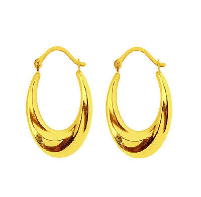 14K Real Yellow Gold Shiny Oval Twist Earrings Hoops Hoop 21mm