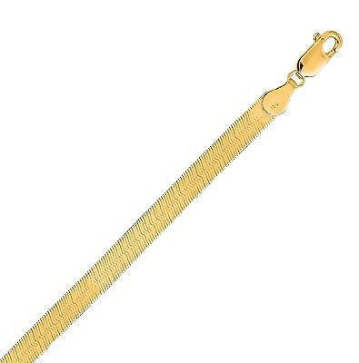 "14K Solid Yellow Gold Herringbone Chain Necklace 5.0mm 16"",18"", 20"", 24"""