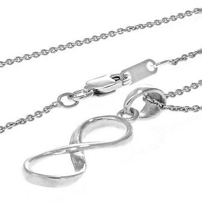 "Sterling Silver Dangle Infinity Charm Pendant Adjustable Necklace 16""-18"""