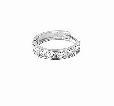 14K White Gold Single Huggie Huggy Hoop 2.4x13.2mm CZ Channel Set Earring Unisex