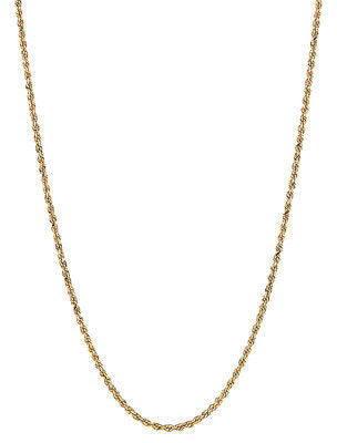 "10K Solid Yellow Gold Rope Chain Necklace 16"",18"", 20"", 22"", 24"", 30"" 2mm"