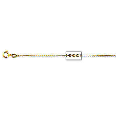 "14K Solid Yellow Gold Cable Link Chain Necklace 0.5mm 16"",18"", 20"""