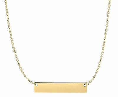 "14K Real Solid Gold 5x25mm Bar Plate Charm Pendant Adjustable Necklace 16-18"" with Lobster Lock"