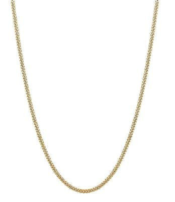 14K Solid Yellow Gold Gourmette Chain Necklace 2mm