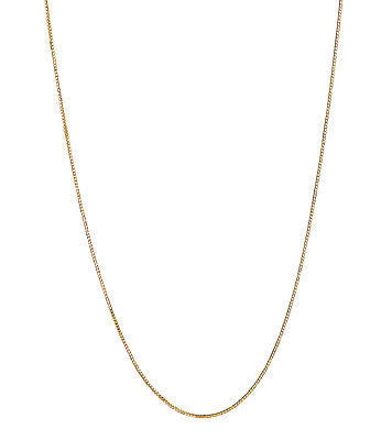 14K Solid Yellow Gold Box Chain Necklace 0.8mm with Lobster Lock