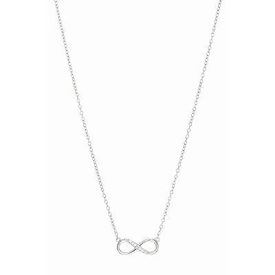 Sterling Silver CZ Infinity Pendant Necklace 18""