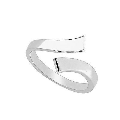Sterling Silver Crossover Shiny Adjustable Ring or Toe Ring