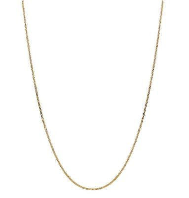 "14K Solid Yellow Gold Gourmette Chain Necklace 0.9mm 16"", 18"""