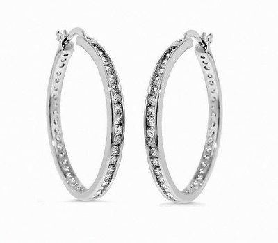 .925 Sterling Silver CZ Hoops Hoop Channel Set Earrings 25mmx3mm