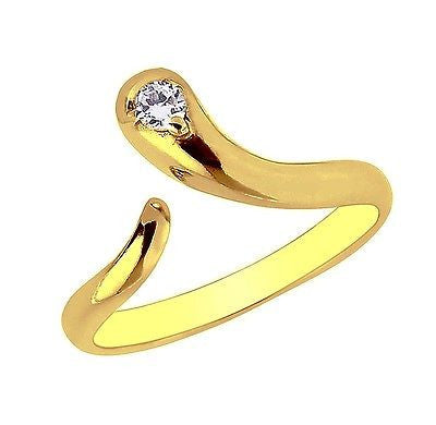 10K Yellow Gold Snake Cubic Zirconia Adjustable Ring or Toe Ring