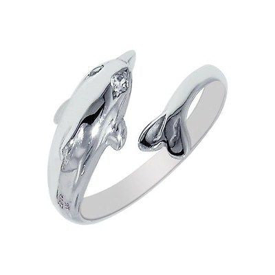 Sterling Silver Dolphin Crossover Cz Sea Life Adjustable Ring or Toe Ring