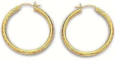 14K Real Yellow Gold Hoops Hoop Earrings Diamond Cut 34x2mm