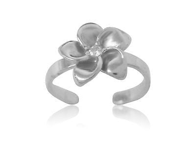 Sterling Silver Hawaiian Plumerian Cz Flower Toe Ring Adjustable