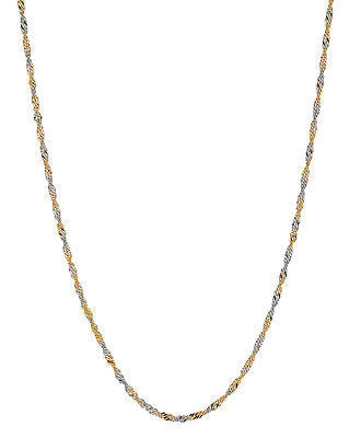 "14K Yellow White Gold Singapore Rope Chain Necklace 2.0mm 16"",18"",20"""