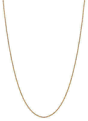 "14K Solid Gold Cable Link Chain Necklace 20"" 0.7mm Lite"