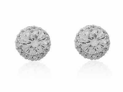 Sterling Silver Round Circular Cz Halo Stud Earrings 9mm