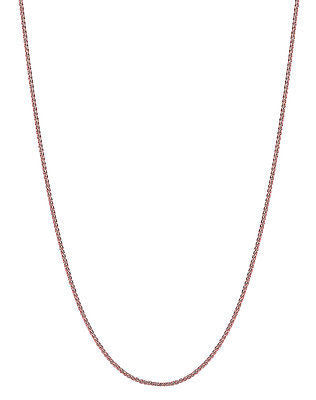 "14K Solid Rose Pink Gold Wheat Chain Necklace 0.6mm 16"",18"", 20"""