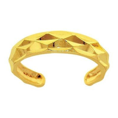 14K Yellow Gold Shiny Faceted Toe Ring Body Art Adjustable
