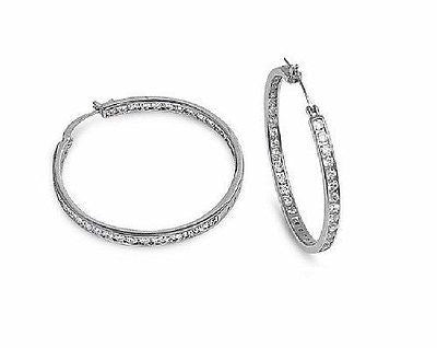 .925 Sterling Silver CZ Inside Out Hoop Earrings 35x3.5mm Large Hoops