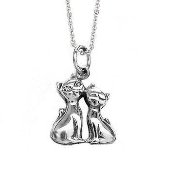 "Sterling Silver Double Cat Kitty Pendant Necklace 18"" Inch"