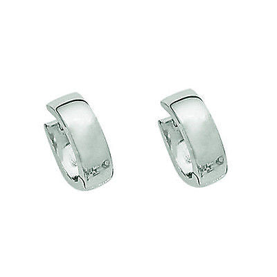 Sterling Silver Shiny Huggy Huggie Hoops Earrings 14.5mm