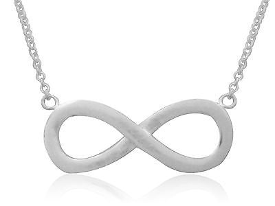 "Sterling Silver Infinity Charm Pendant Necklace 16""-18"" Adjustable"