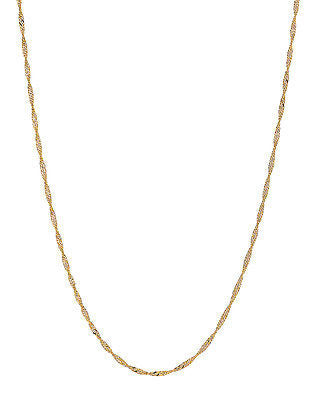 14k Solid Yellow Gold Singapore Rope Chain Necklace 1.1mm 20""
