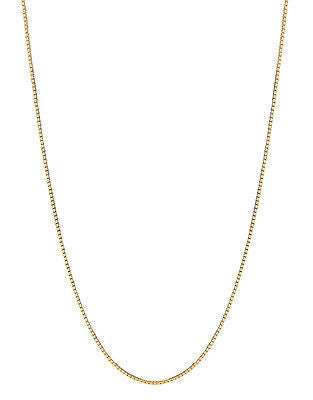 "14K Solid Yellow Gold Box Chain Necklace 20"" 1mm"