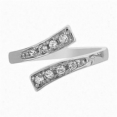 10K White Gold Crossover Shiny CZ Cubic Zirconia Adjustable Ring or Toe Ring